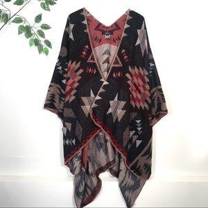 Forever 21 Boho Aztec Southwestern Poncho Sweater